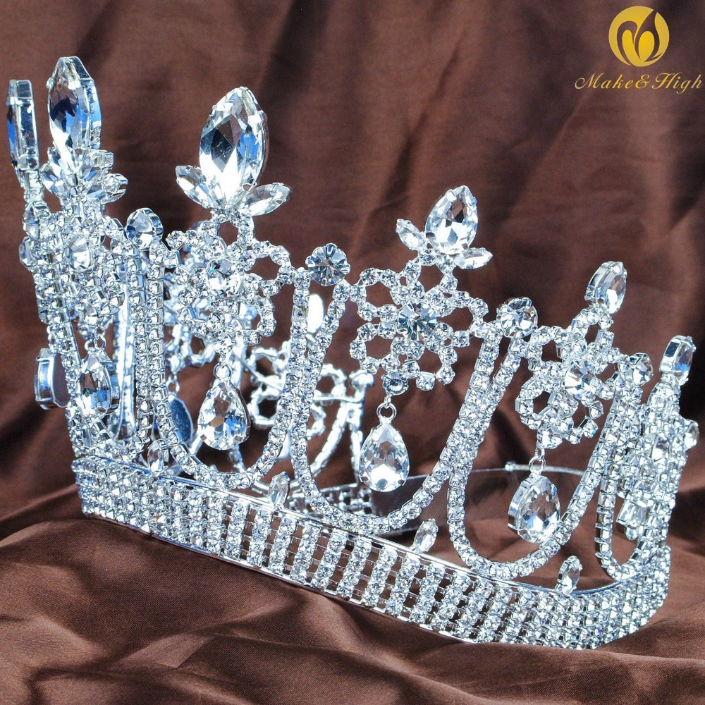 Gorgeous Flower Large Tiara Diadem Wedding Brides Crown Crystal Rhinestones Headpiece Prom Costumes Hair Accessories цена