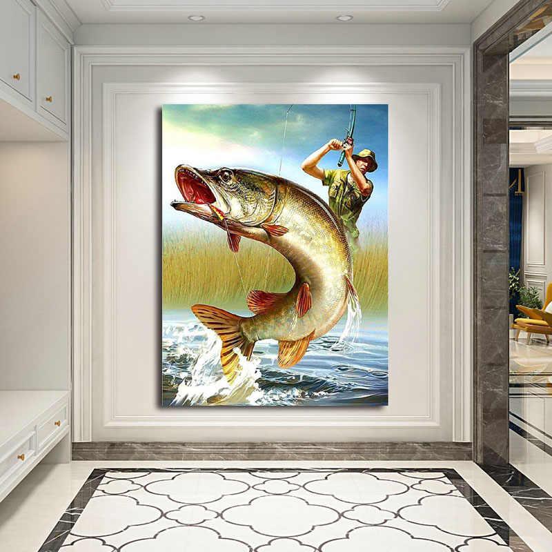DIY สีภาพโดยตัวเลขปลาภาพวาดภาพวาดกรอบบ้าน