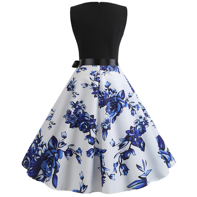 Womail dress Summer Vintage Sleeveless Print O-Neck Dress Evening Party Elegant Dress with Belt Daily fashion  2020  M9 4