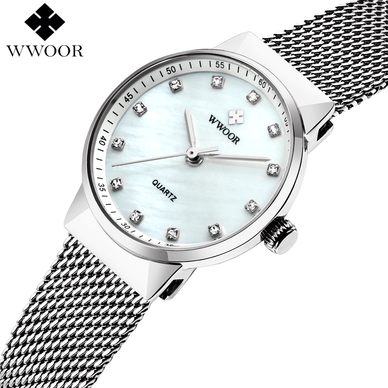 WWOOR Women Watches Ladies Waterproof Quartz Watch Women Brand Luxury Silver Bracelet Dress Watch Female Clock relogio feminino luxury brand watches waterproof leather bracelet ladies quartz wrist watch clock women female hours gold silver relogio feminino
