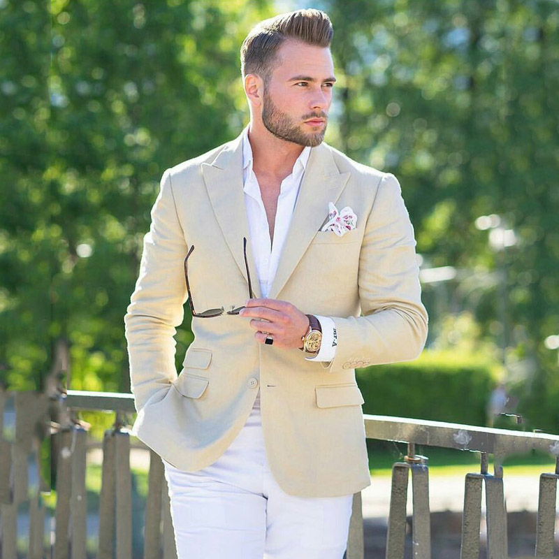 Custom Ivory Mens Wedding Suits White Pants Groom Tuxedos Terno Masculino Slim Fit Costume Homme 2Piece Man Blazer Prom Party