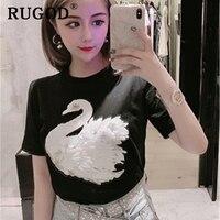 RUGOD Korean chic printed women tshirts Fashion Embroidered swan short sleeve slim T shirts summer 2019 Casual Elegant tops tee