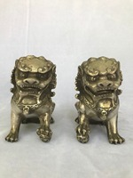Chinese Copper Statue Lions Pair Might Terrorize Get rid of evil