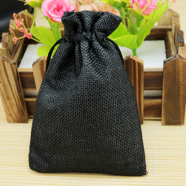 Top 10*14cm 50pcs Plain Black linen jute bag favor bracelet gifts  PD39