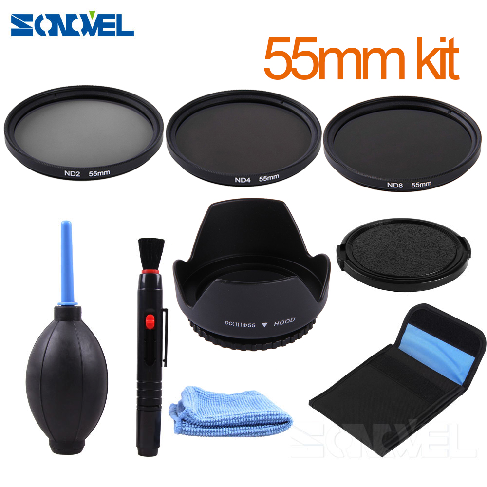 55mm ND2 ND4 ND8 lente de filtro de densidad neutra + parasol para Nikon D7500 D7200 D5600 D5500 D3400 d750 con AF-P 18-55mm lente
