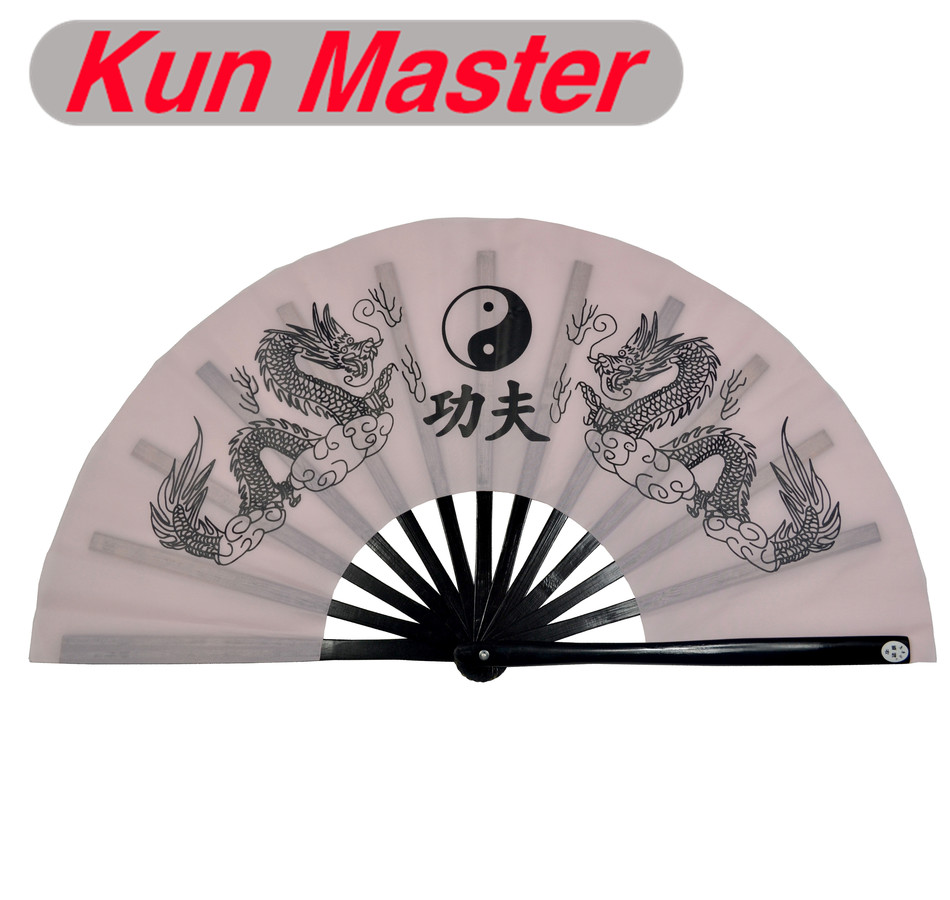 Bamboo Kung Fu Fighting Fan, Martial Arts Dance/Practice Performance Fan, Double Dragon (light Pink) ...