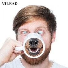 VILEAD Neues Angebot Kreative Dog Nose Tasse Lustige Tier Becher Keramik tasse mit Deckel Nette Kaffeetassen Morgen 3D Teetasse