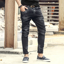 Fashion Vintage Mens Ripped Jeans Pants Slim Fit Distressed Hip Hop Denim pants new spring men black stretch jeans pants K597(China)
