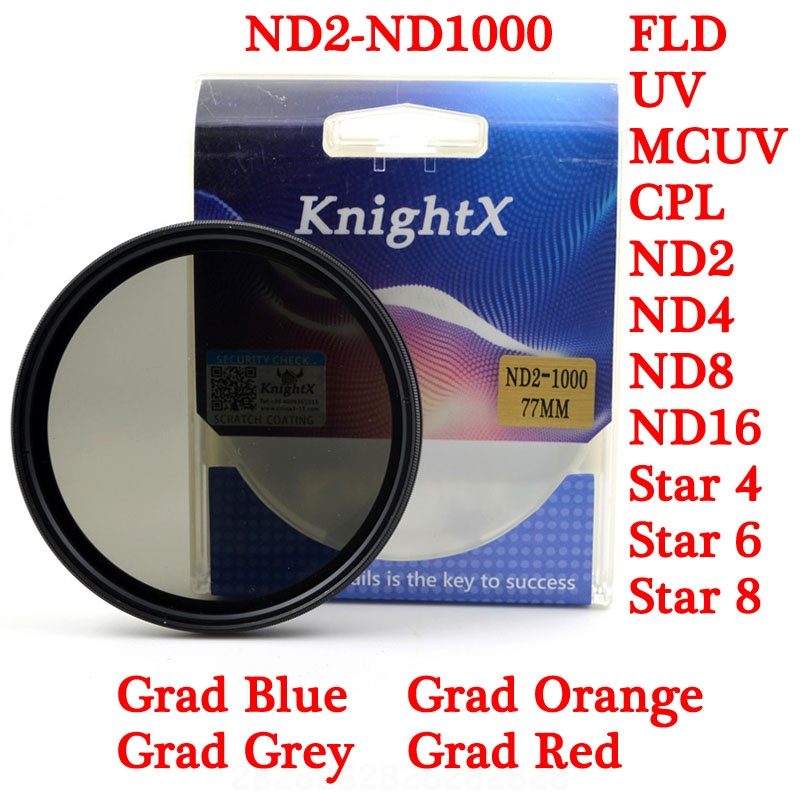 KnightX UV CPL ND gnd Grad grey 52 55 58 67 <font><b>77</b></font> <font><b>lens</b></font> filter for Sony Canon Nikon case eos 7d photography 49MM 52MM 55MM 58MM 67MM image