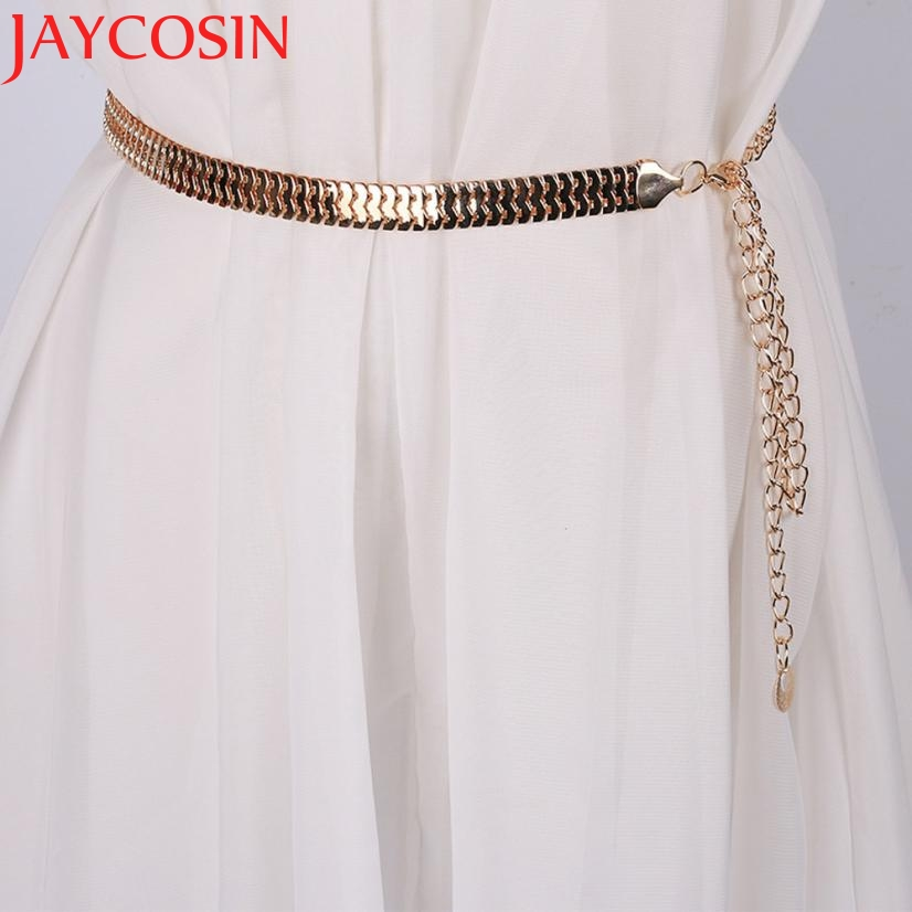JAYCOSIN New Fashion Women Lady Fashion Fish Skin Pattern Metal Gold Chain Belt Waist Strap 160616 Drop Shipping
