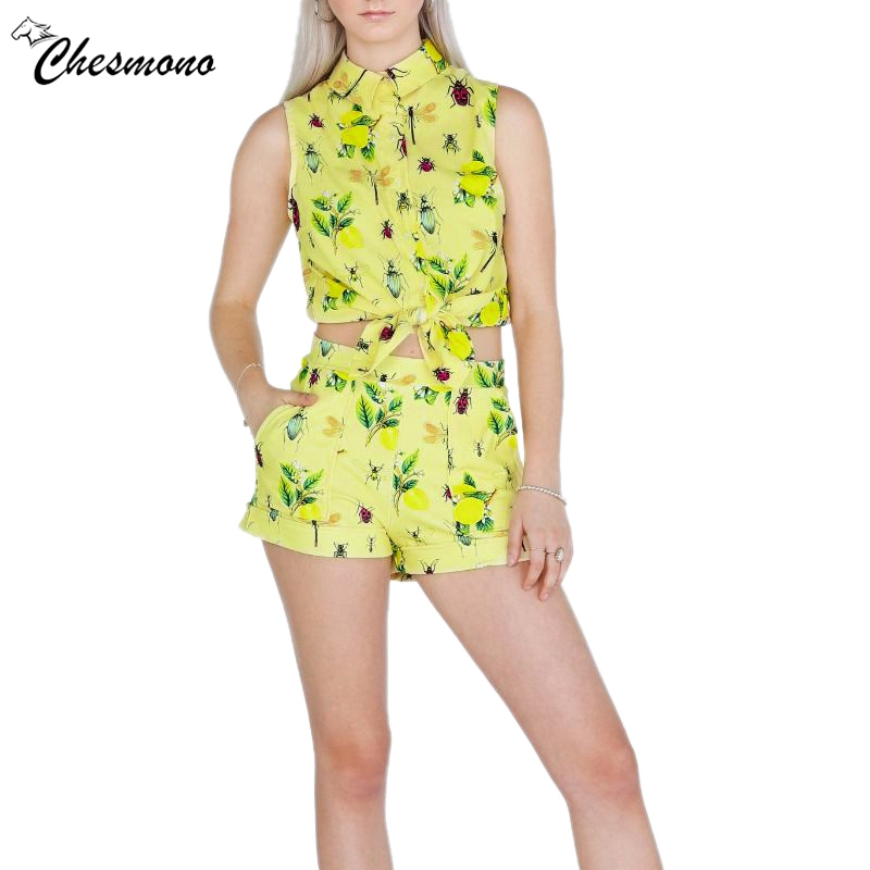 Women's Summer Set Sexy Insect Print Yellow Bow Tie 2 Pieces Set Crop Top And Shorts Two Piece Set Women Clothes