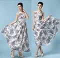 Mulheres vestido do verão 2015 novas mulheres Chiffon sem mangas vestido pode colocar em um grande cintura longa com decote em V