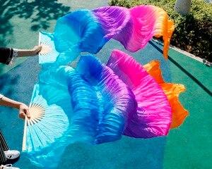 Image 4 - Хит 2018, высококачественные женские шелковые вуали для танца живота, 100% натуральный шелк, радужная цветная вуаль, одна пара (2 шт.)