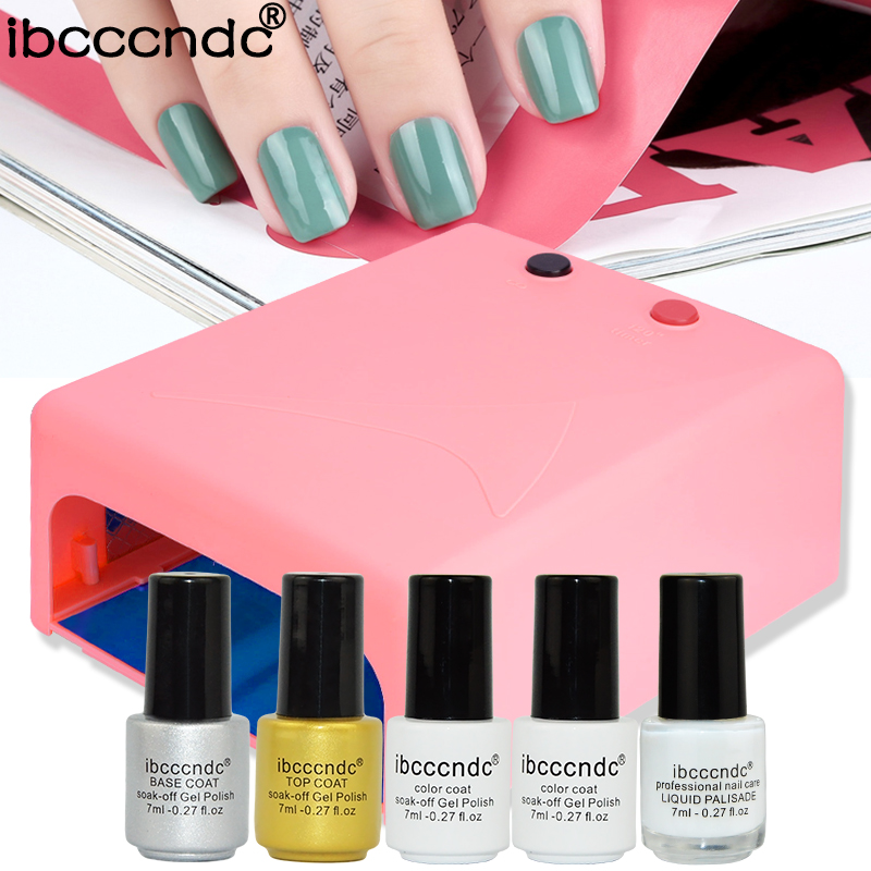 Professionl Manicure Tools 36w UV Lamp+7ml uv gel nail polish top base coat+liquid latex color uv gel acrylic nail polish set