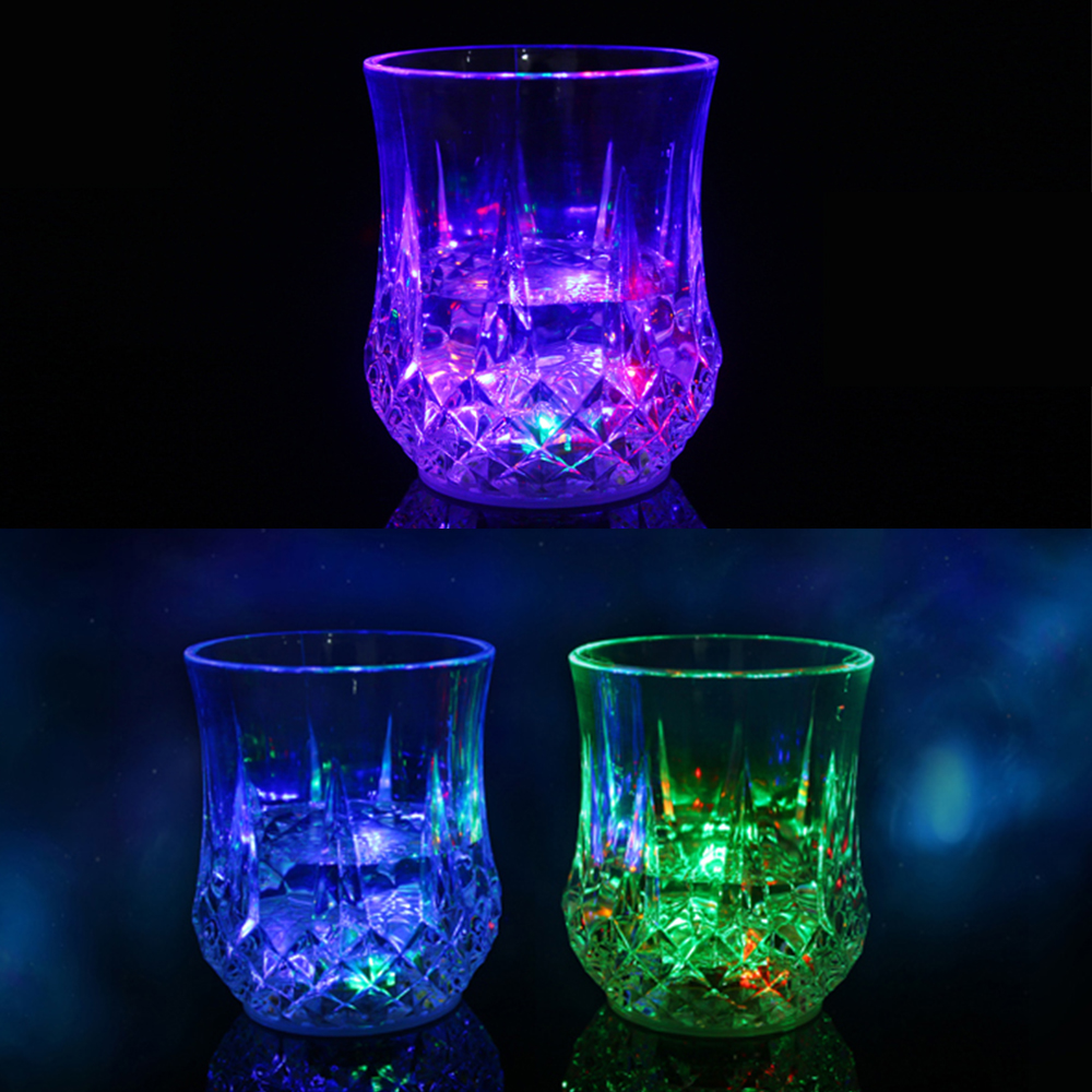 LED Drink Flashing Light Glow Champagne Glass Wine Glass Cup Party Induction Luminous Liquid Juice Glass Cup Container P20
