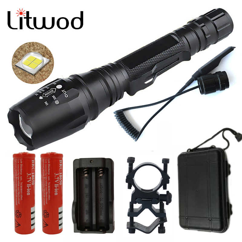 Litwod Z20 XHP50 y XHP 70 linterna táctica LED con zoom para 18650 baterías, luces de aluminio de defensa personal