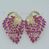 Elegent Natural Pink Ruby Earrings Vintage Solid 18Kt Yellow Gold for Party Fine Jewelry E153A