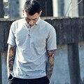 Lençóis de algodão T-shirt Do homem dos homens novos camisas de manga curta slim fit casual tees china estilo retro cor sólida tshirt C44