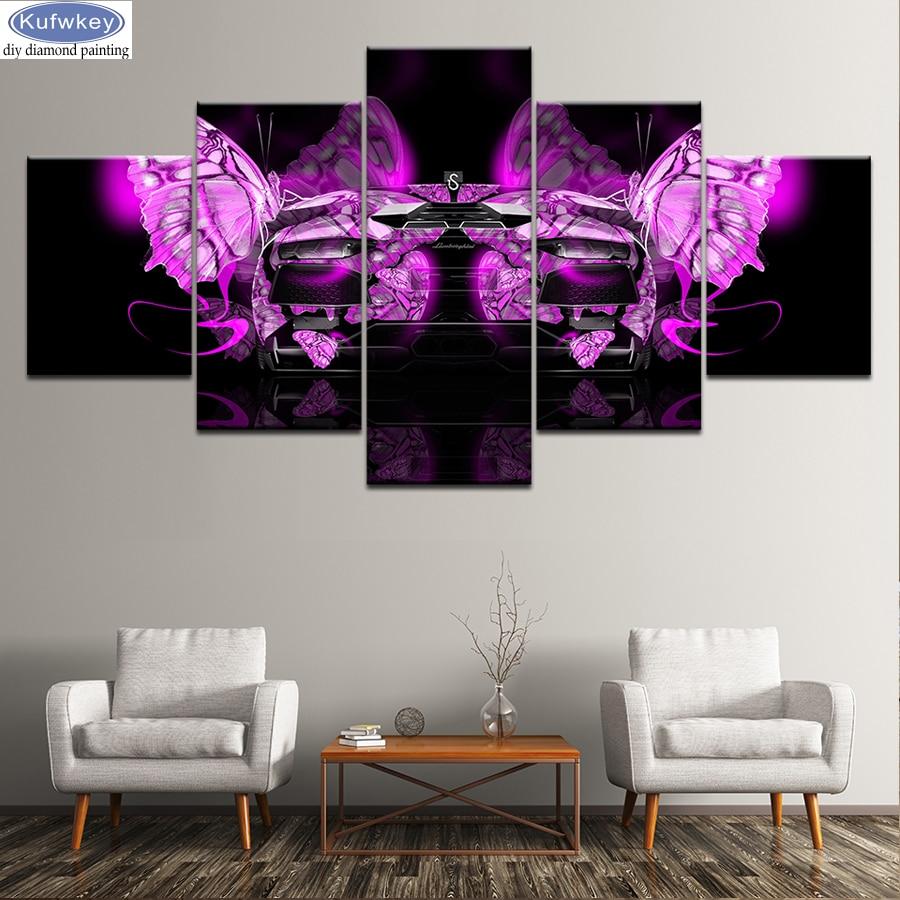 5 pièces 5D bricolage diamant peinture abstraite papillon Point De Croix Diamant Broderie kits mosaïque motif Papier Peint décor à la maison cadeau