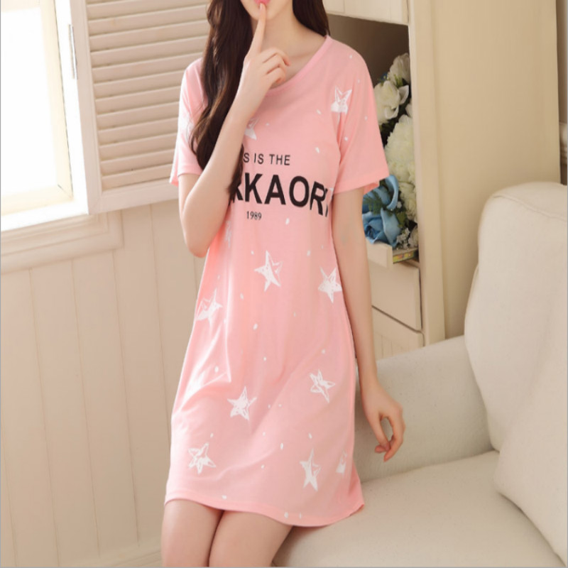 Fashion Women Cotton   Nightgowns     Sleepshirts   2018 Summer Home Dress Animal Sleepwear Loose Comfortable Nightdress Indoor Clothing