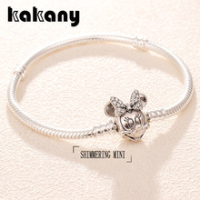 Kakany 925 Sterling Silver Disne Shimmering Mini Portrait Bracelet Original High Quality 1:1 Fashion Women Popular Diy Jewelry(China)