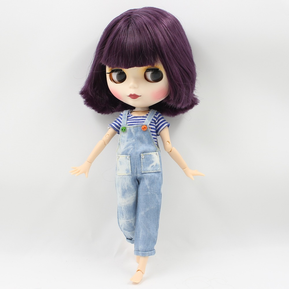 Neo Blythe Doll with Purple Hair, White Skin, Matte Face & Jointed Body 4