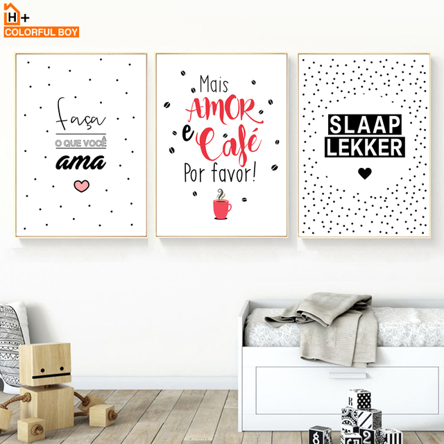 Colorfulboy Age Slaap Lekker Life Quote Nordic Canvas Painting Wall Art Print Poster Cartoon Letter