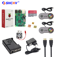 Raspberry Pi 3 Game Starter Kit 16G 32G SD Card Gamepad Case Fan Switch Power Supply