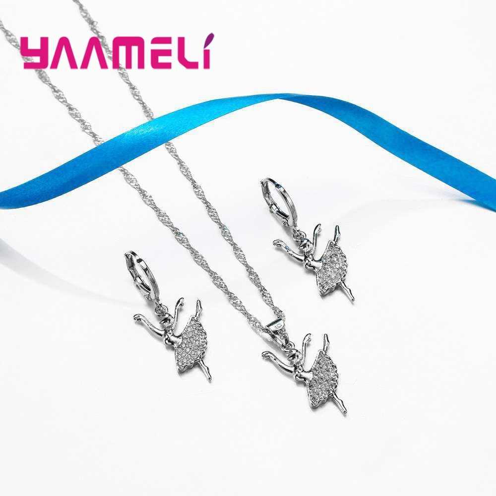 YAAMEL אלגנטי רקדנית עיצוב 925 כסף סטרלינג שרשרת עגילי סט מבריק מעוקב Zirconia נשים נקבה אירוסין תכשיטים