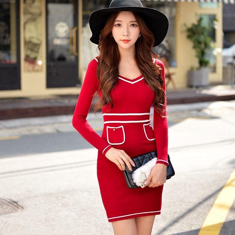 Original 2016 Brand Vestidos Autumn Winter Slim Elegant Casual Long Sleeve V Neck Short Knitted Sweater Dresses Women