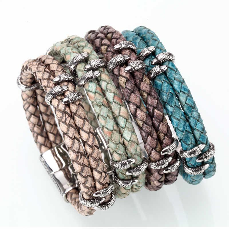 Mcllroy Bracelet men/vintage/retro/braided/genuine leather bracelet homme femme mens bracelets 2018 handmade jewelry pulseras
