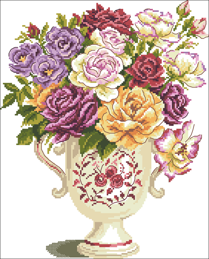Needlework,DIY Cross Stitch,Sets For Embroidery kits,11CT&14CT,Rose vase