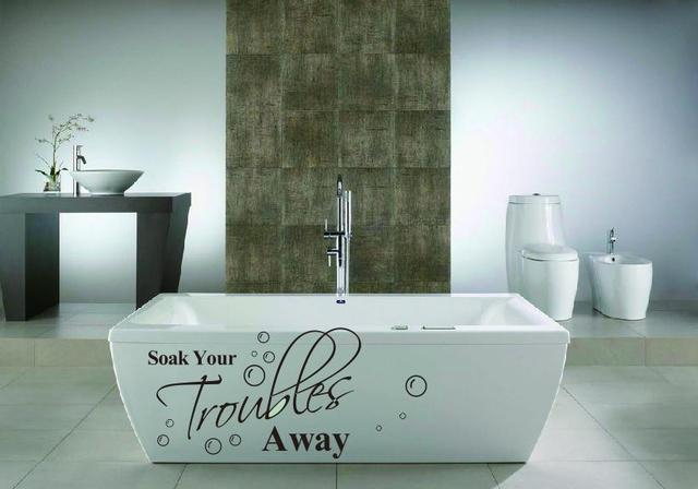 Hot Sale Soak Your Troubles Away Inspirational Quotes Bathroom Wall  Stickers Decals Wholesales