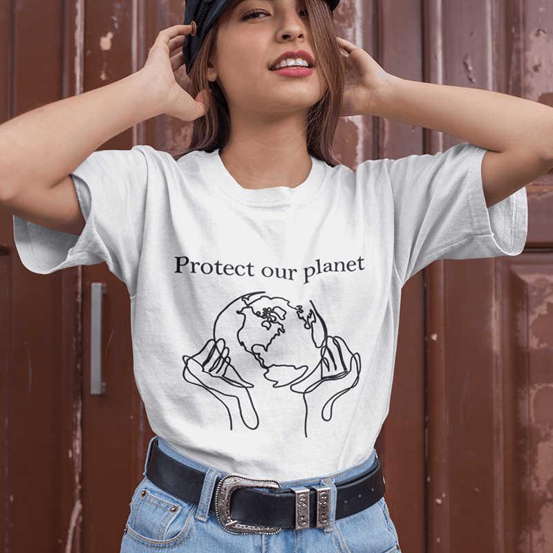 Proteger nuestro planeta gráfico camisetas mujeres camiseta ...