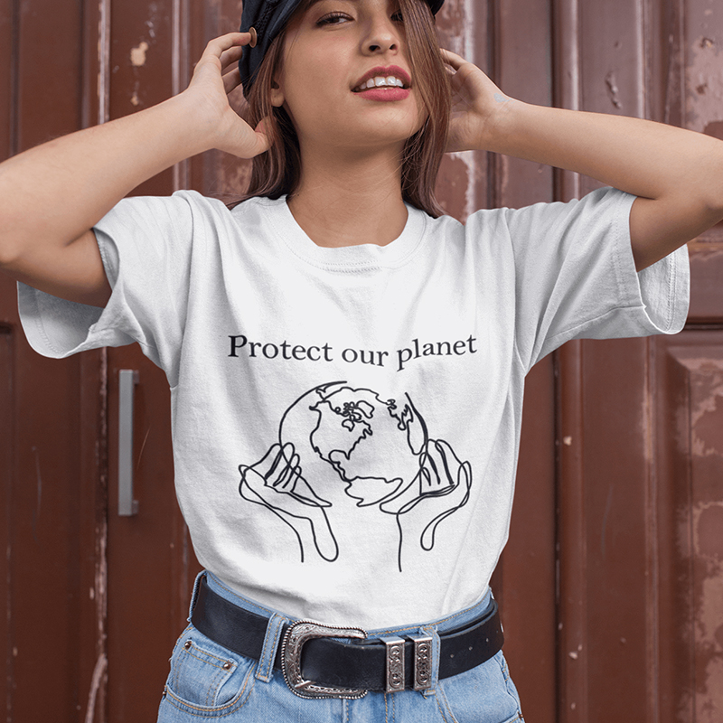 Protect Our Planet Graphic Tees Women Vintage Tshirt Aesthetic 90s Grunge Shirt Save The Earth Shirts Cottton Plus Size Top Drop Футболка