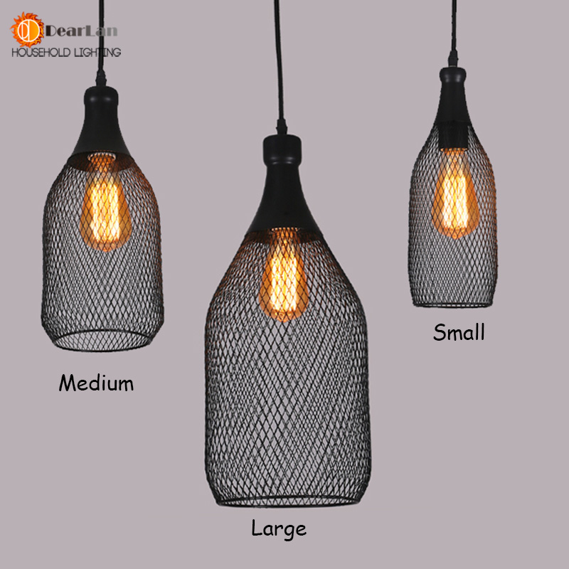 Vintage Iron Bottle Shape Indoor Pendant Lamp E27 Holder Black Lighting For Foyer Coffee House Dining Hall Dx 50 In Lights From