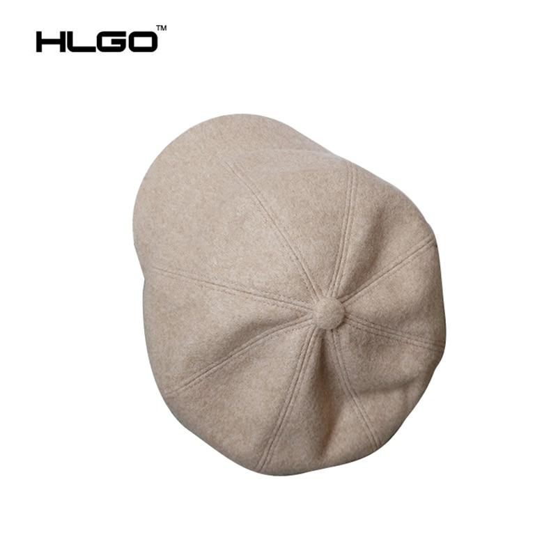 a32a7958db749 Moda Otoño Invierno de Las Muchachas Para Mujer de Color Sólido Sombreros  Elegantes de Algodón Poliéster Poes Octogonal Tapas