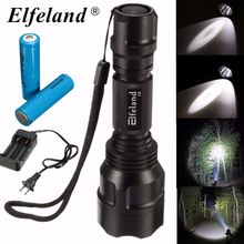 Elfeland Super Bright Aluminium 3000lm 5 Modes C8 XM-L XPE LED Light Flashlight 18650 Torch for Outdoor Hiking  Charger 2×18650