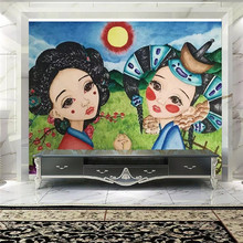 Creative hand-painted Mongolian children prairie professional production mural wallpaper custom poster photo wall