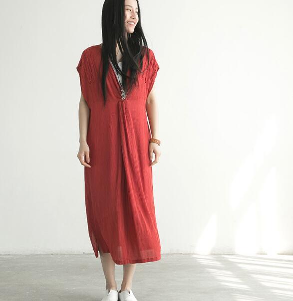 2019 nouveau Design Long coton femmes linge robes lin été grande taille femmes robes