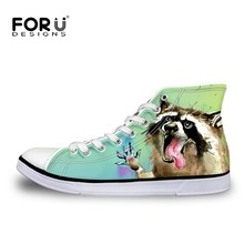 FORUDESIGNS Funny Animal Cat Printed Women Vulcanized Shoes Spring High Top Casual Canvas Shoes Woman Lace-up Leisure Shoe Girl
