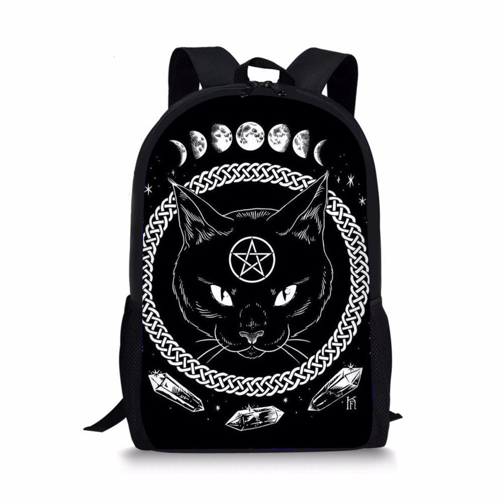 06cc9a5187 ELVISWORDS Gothic Moon Phase Witchcraft Cat Backpacks For Teen Girls Boys  Travel Women Men Daypack Fashion