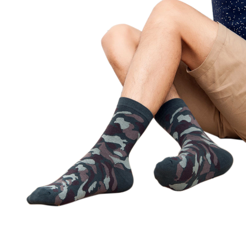 6 Pairs Camo Ankle Socks Soft Cotton Camping Crew Forest Stockings Cycling Bowling Camping Military Green Hunting CS Hiking Sock