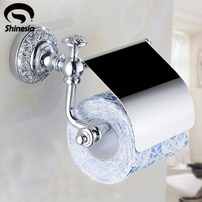 Shinesia Free Shipping Bathroom Toilet Paper Holder Tissue Holder Rack Chrome Polished Wall Mounted wholesale and retail luxury polished golden bathroom toilet paper holder tissue box wall mounted dual paper boxes