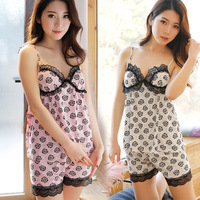 yomrzl A406 New arrival summer modal women's pajama set sleeveless sleep set v-neck lace sleepwear rose indoor clothes