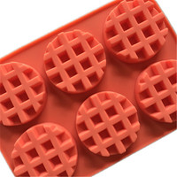 Baking Pastry Tools 6 Round Waffle Muffin Cake Mold Bakeware Silicone Accessories Cookies Practical Kitchen Artifact Product