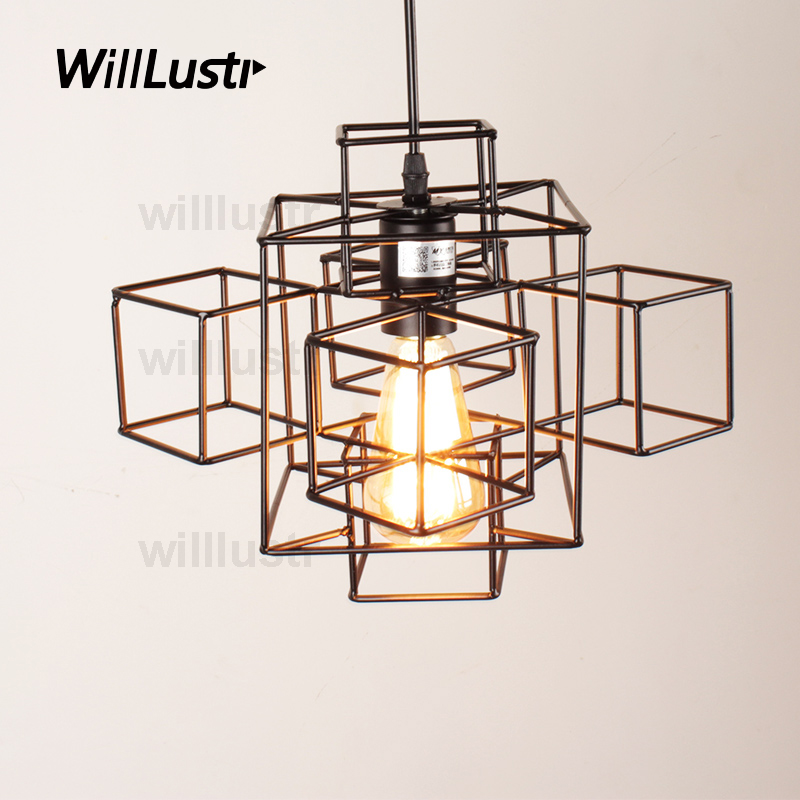 Willlustr metal abstract geometry PENDANT LIGHT American country suspension lamp industry loft Edison Bulb hanging lighting willlustr copper pendant lamp brass hanging light fabric shade chandelier modern suspension lighting american country bronze