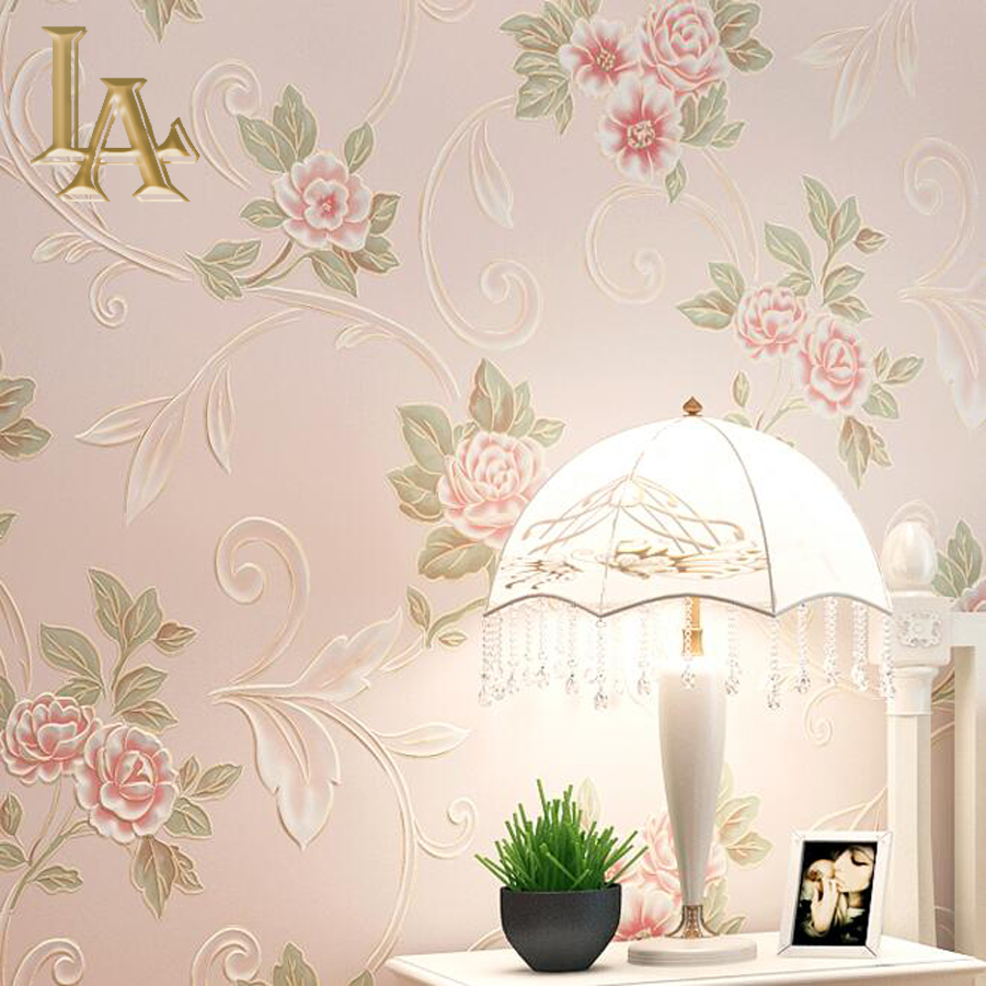 Aliexpress.com : Buy Pastoral Cozy Pink Light Blue 3D Flower Wallpaper  Modern Living Room Sofa Wall Decor Romantic Embossed Floral Wall Paper  Rolls From ... Part 9