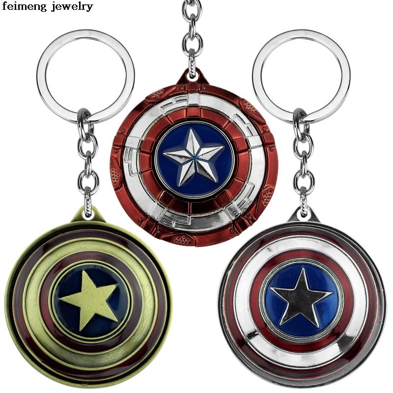 The Avengers Captain America Keychain Superhero Star Shield Pendant Keyring Fashion Car Key Chain Accessories Drop