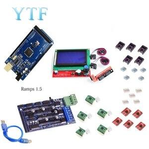 Image 4 - Mega 2560 R3 + 1Pcs RAMPS 1.4/1.5/1,6 Controller + 5Pcs A4988 Stepper Fahrer Modul/12864 LCD Control 3D Drucker Kit